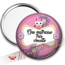 MIROIR DE POCHE CHOUETTE MAITRESSE