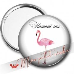 """MIROIR DE POCHE """"FLAMANT ROSE"""""""