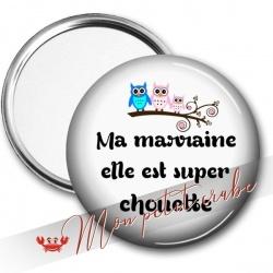 MIROIR DE POCHE CHOUETTE MARRAINE